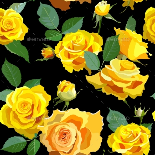 GraphicRiver Seamless Floral Background with Yellow Roses 10715690