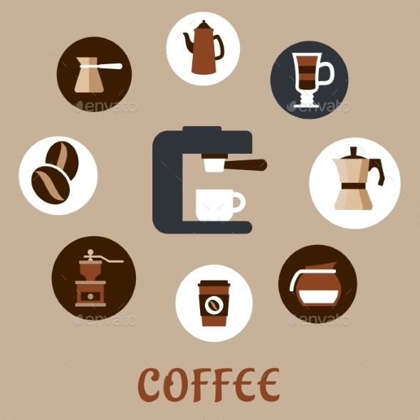 GraphicRiver Flat Coffee Icons Around the Coffee Machine 10715823