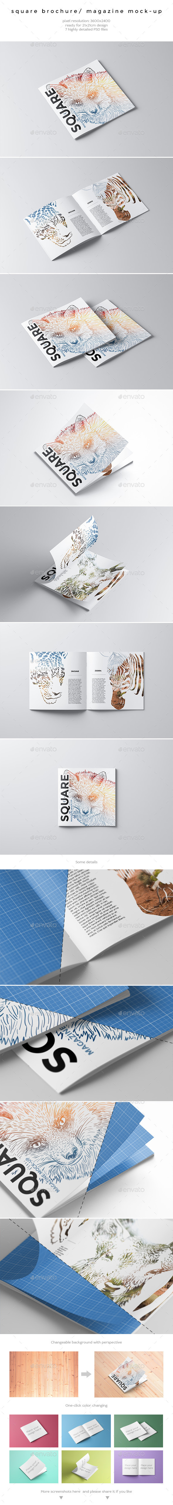GraphicRiver Square Brochure Magazine Mock-Up 10716425