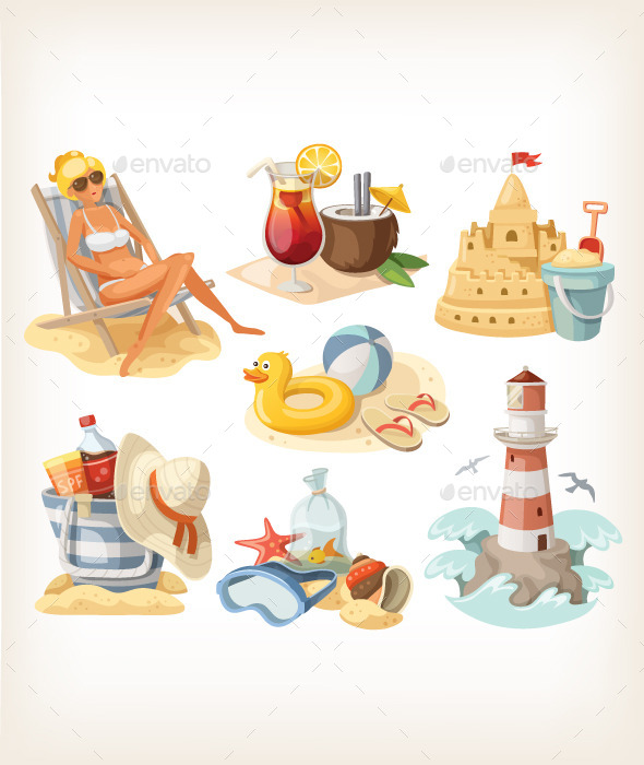 GraphicRiver Set of Summer Beach Elements 10716529