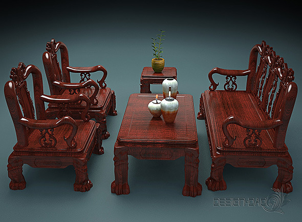 3DOcean Set of carved wooden Table and Chairs 10716569