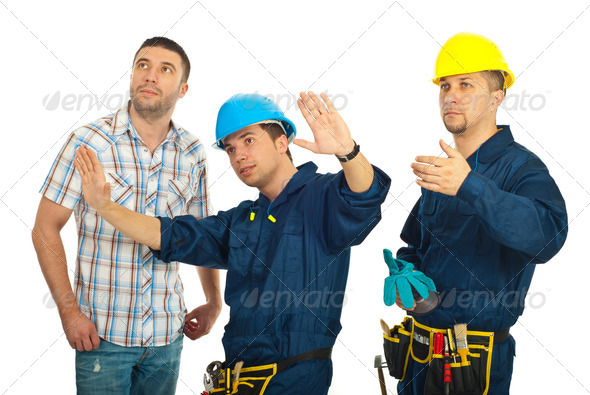 Repairman explain to client - Stock Photo - Images