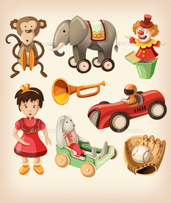 GraphicRiver Set of Colorful Vintage Toys for Kids 10716970