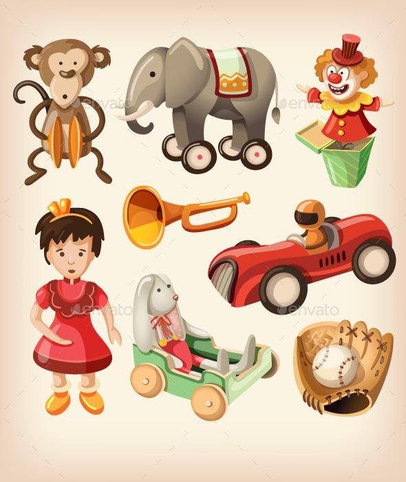 GraphicRiver Set of Colorful Vintage Toys for Kids 10716970