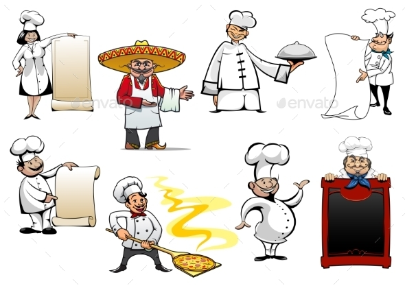 GraphicRiver Variety Cartoon Chefs and Bakers 10717037