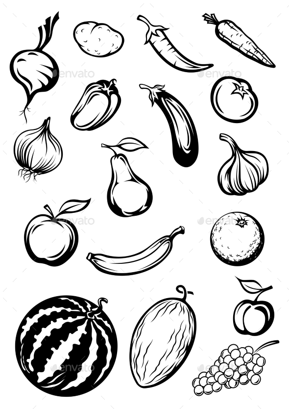 GraphicRiver Variety of Fruits and Vegetables 10717048