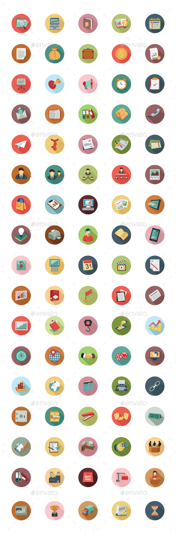 GraphicRiver 85 Business Colored Flat Icons 10717056