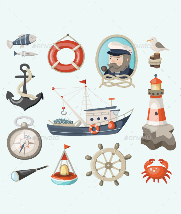 GraphicRiver Set of Fishing and Sea Items 10717105