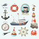 Set of Fishing and Sea Items - GraphicRiver Item for Sale