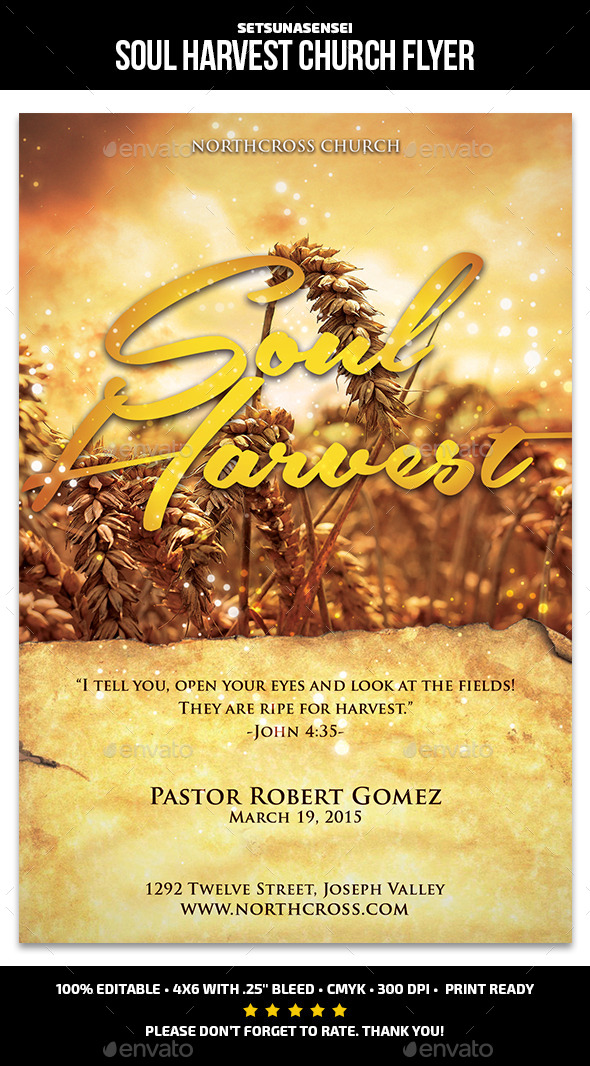 GraphicRiver Soul Harvest Church Flyer 10717285