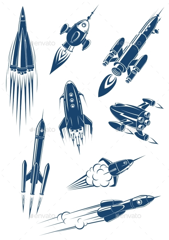 GraphicRiver Cartoon Spaceships and Rockets in Space 10717314
