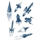 Cartoon Spaceships and Rockets in Space - GraphicRiver Item for Sale