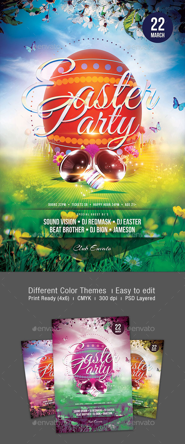 GraphicRiver Easter Party Flyer 10717332