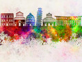 Pisa skyline in watercolor background - PhotoDune Item for Sale