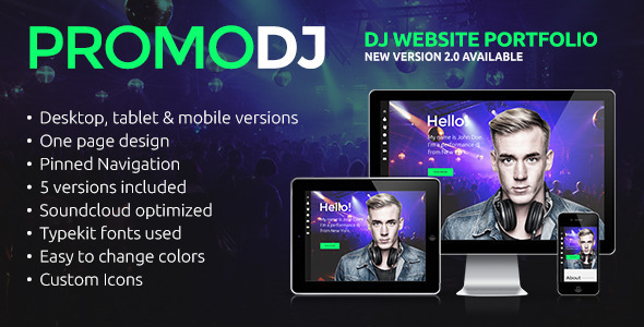 PromoDJ - One Page DJ Portfolio Muse Template - Personal Muse Templates