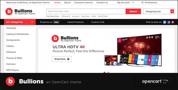 ThemeForest Bullions Responsive OpenCart Theme 10658104