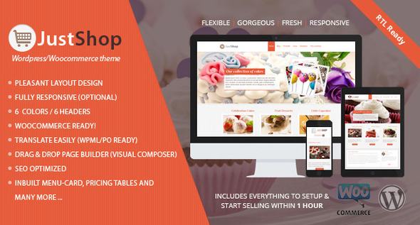 Justshop - Cake Bakery WordPress Theme - Food Retail