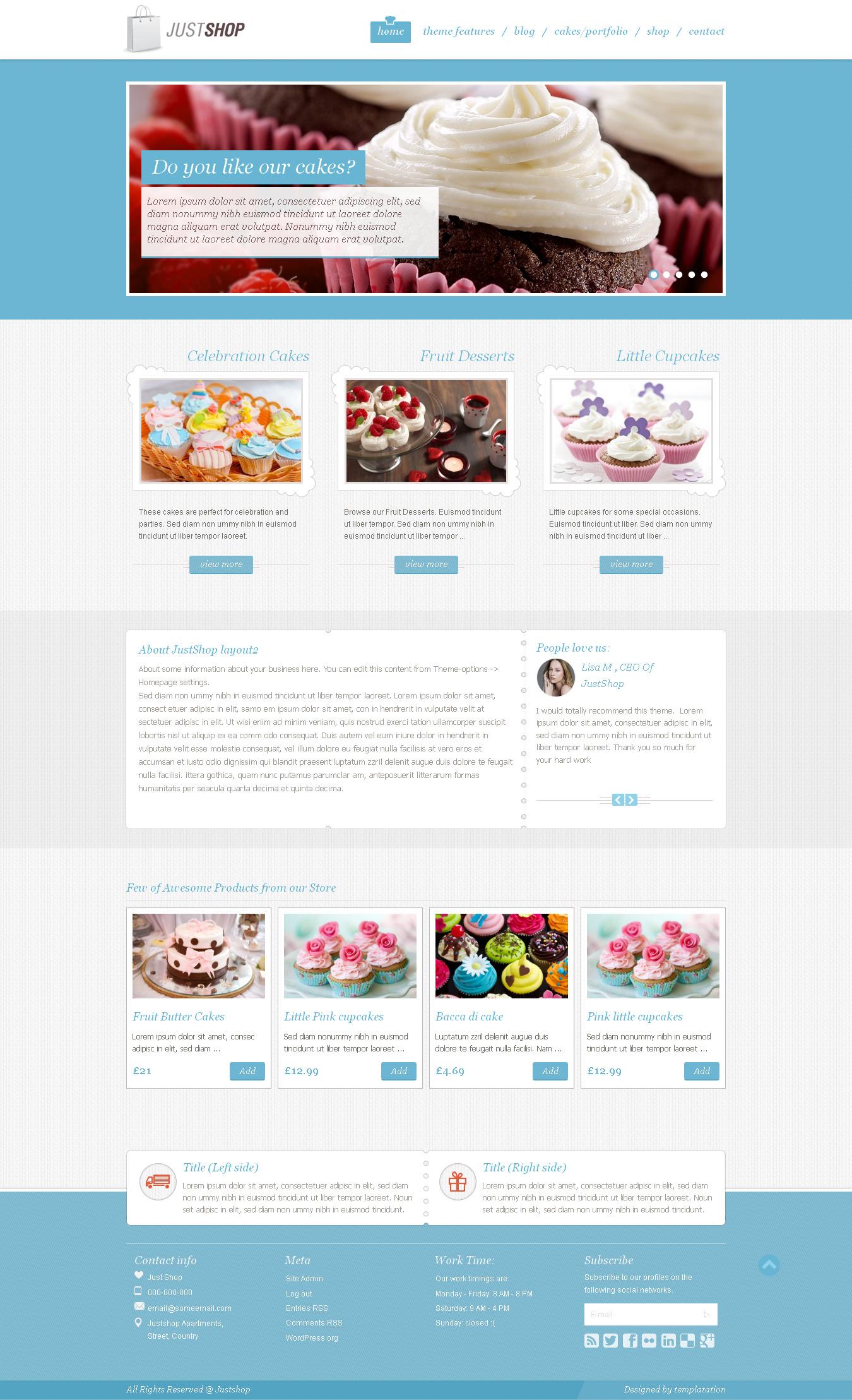 Justshop - Cake Bakery WordPress Theme