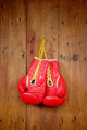 Boxing-glove hanging on wooden background - PhotoDune Item for Sale