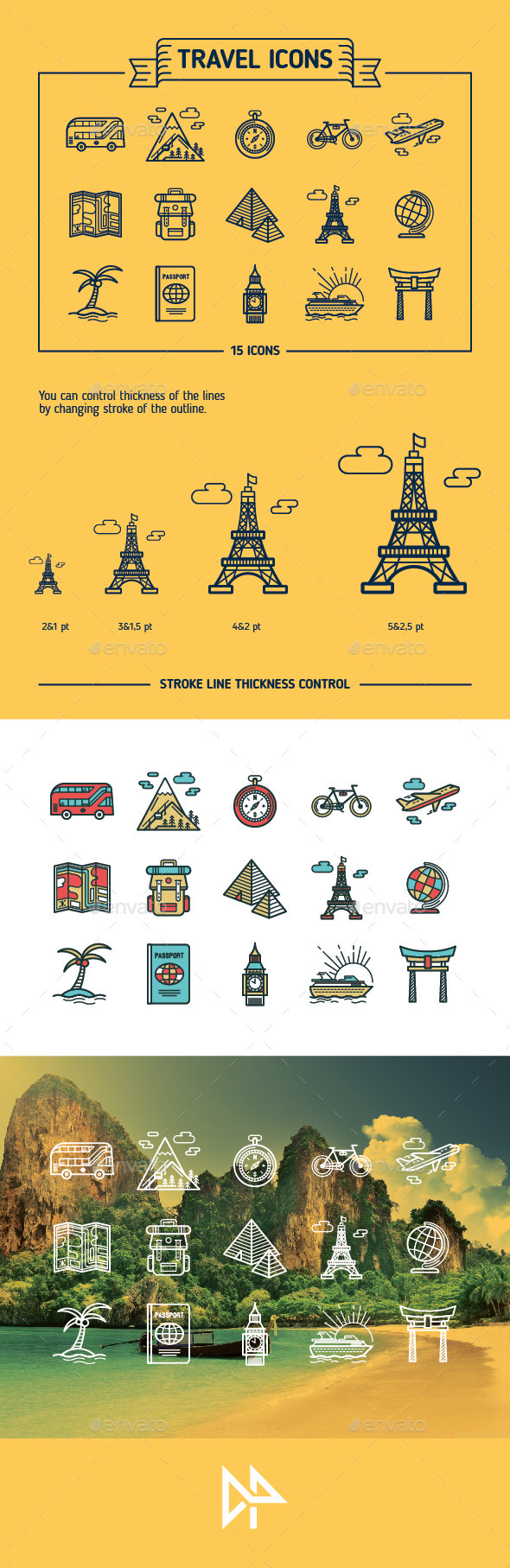 GraphicRiver Travel Outline & Colored Icons 10675902