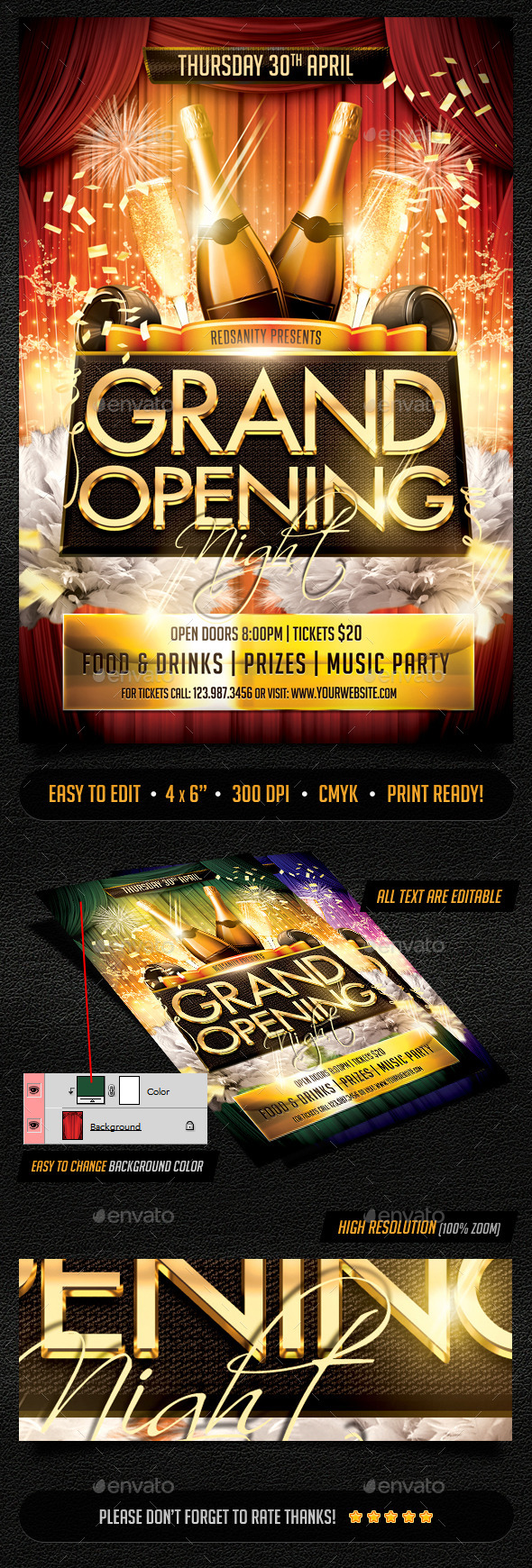 GraphicRiver Grand Opening Night Flyer 10718684