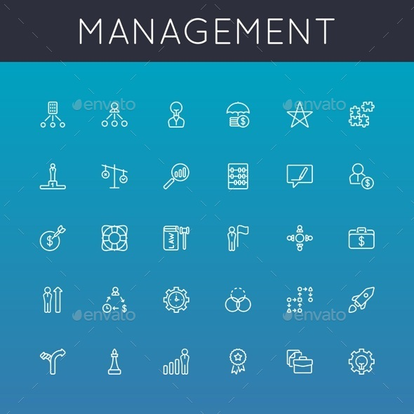 GraphicRiver Vector Management Line Icons 10718823