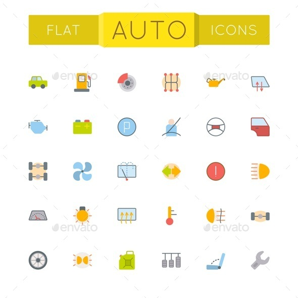 GraphicRiver Vector Flat Auto Icons 10718914