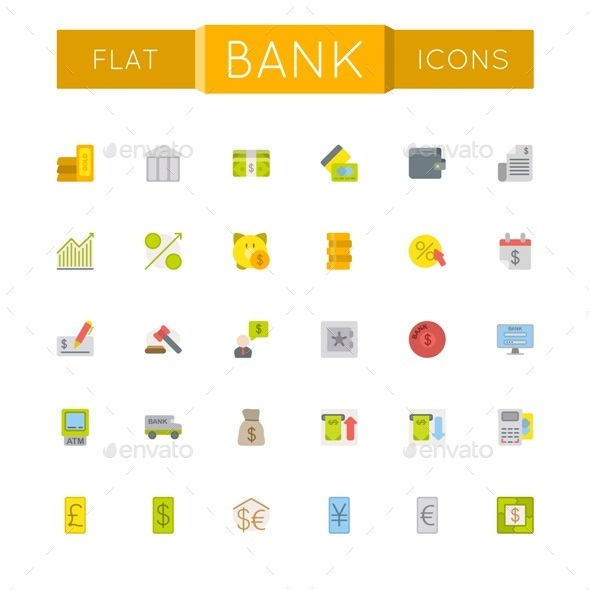 GraphicRiver Vector Flat Bank Icons 10719113