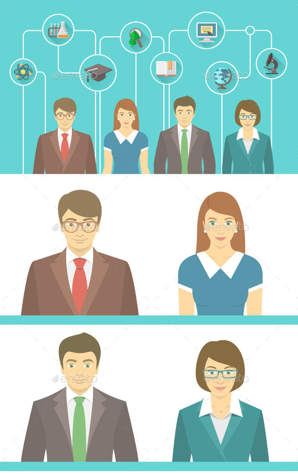 GraphicRiver Teachers Team with Educational Icons 10720784
