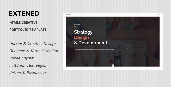 ThemeForest Extended HTML5 creative Portfolio Template 10720896