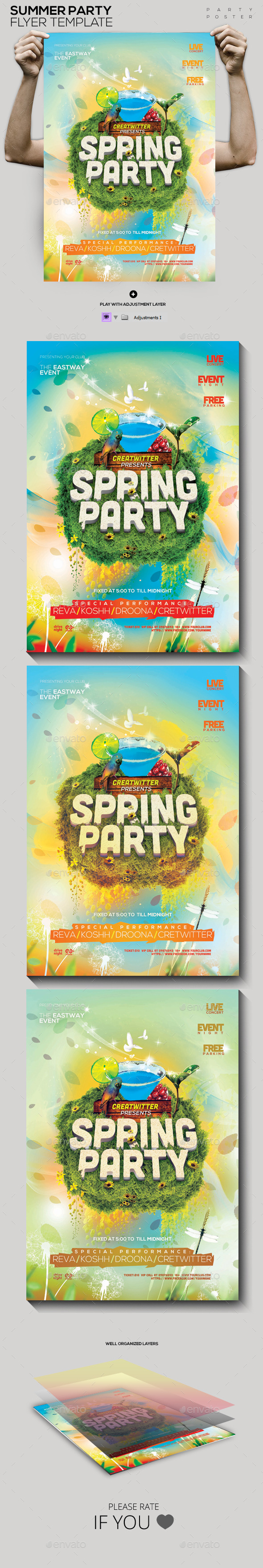 Spring Party Template PSD Flyer/Poster