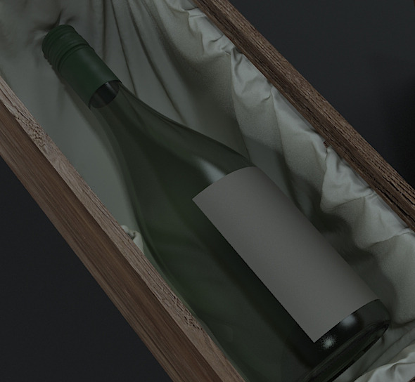 Wine bottle & box - 3DOcean Item for Sale