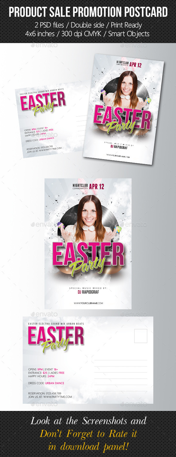 GraphicRiver Easter Party Postcard Template 10721342