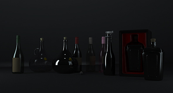3DOcean Wine bottles 10721606
