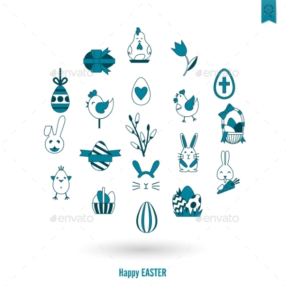 GraphicRiver Celebration Easter Icons 10722313