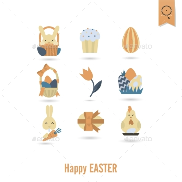 GraphicRiver Celebration Easter Icons 10722316