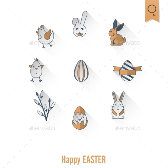 GraphicRiver Celebration Easter Icons 10722319