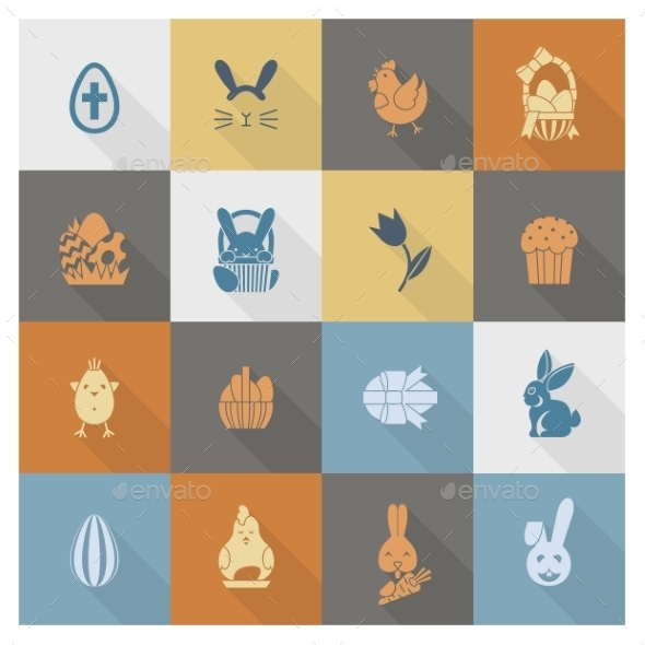 GraphicRiver Celebration Easter Icons 10722324