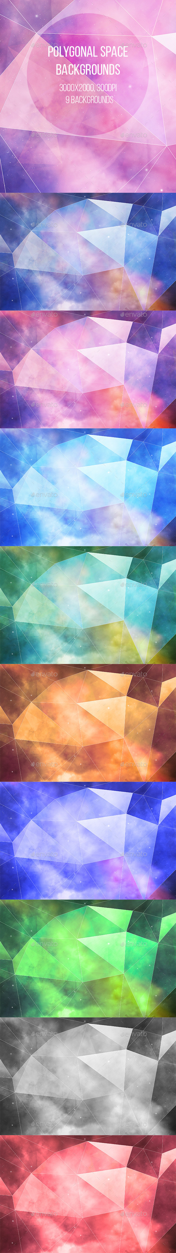 GraphicRiver Polygonal Space Backgrounds 10722406