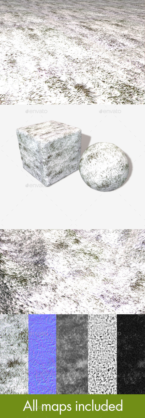Snowy Grass Seamless Texture - 3DOcean Item for Sale
