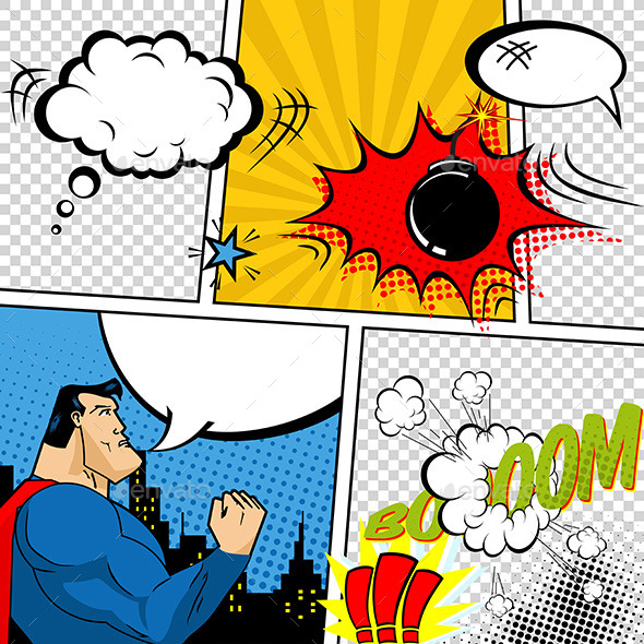 GraphicRiver Retro Comic Book Speech Bubbles 10723351