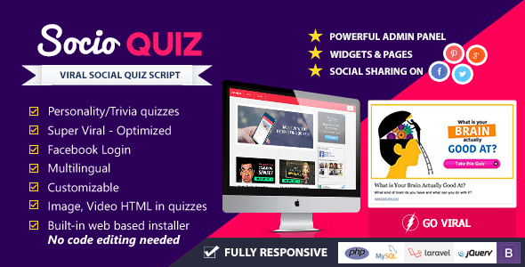 CodeCanyon SocioQuiz Viral Quiz website with Facebook login 10724120
