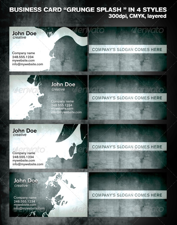 Business card in 4 styles - Grunge Splash - Grunge Business Cards