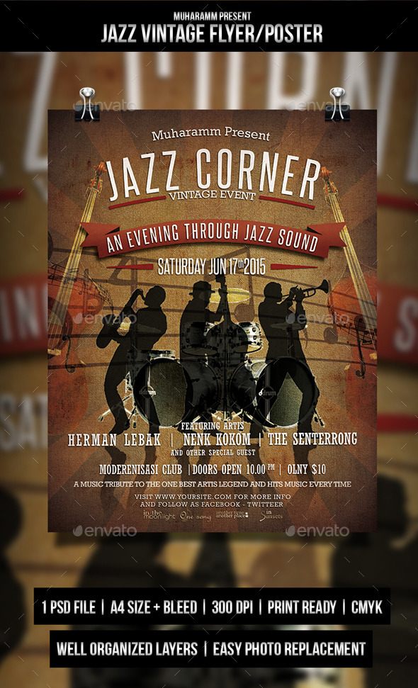 GraphicRiver Jazz Vintage Flyer Poster 10726030