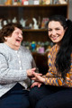 Grandmother and grandaughter having a funny conversation - PhotoDune Item for Sale