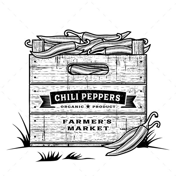 GraphicRiver Retro Crate of Chili Peppers 10729890