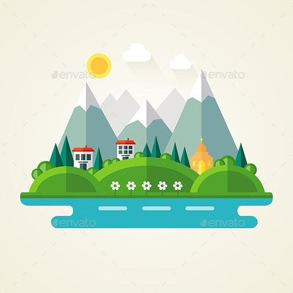 GraphicRiver Nature Landscape Flat Icon 10730124