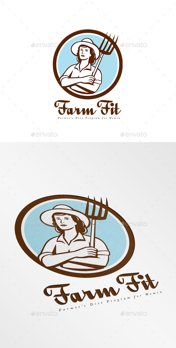 GraphicRiver Farm Fit Women s Diet Program Logo 10730220