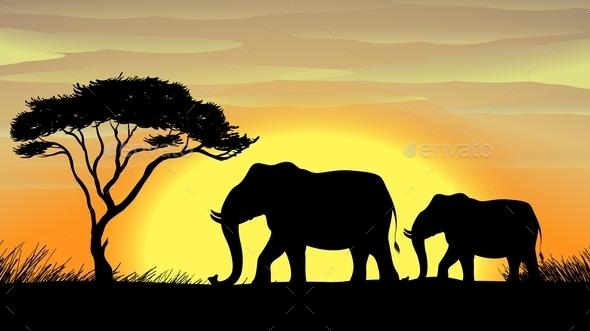 GraphicRiver Elephant Under a Tree 10730629