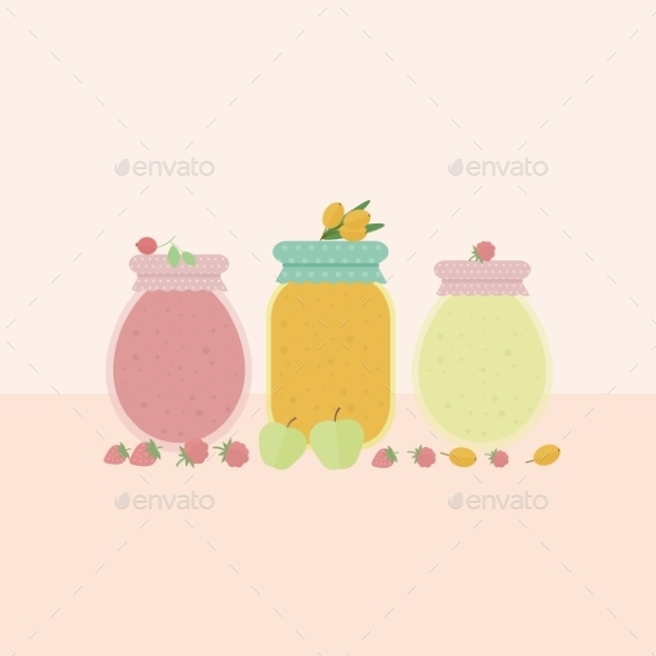 GraphicRiver Glass Jars of Jam 10730817